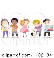 Cartoon Of Happy Diverse Children With Their Pets Royalty Free Vector Clipart by BNP Design Studio