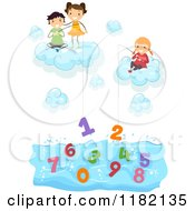Cartoon Of Happy Diverse School Children In Clouds Fishing For Numbers In Water Royalty Free Vector Clipart