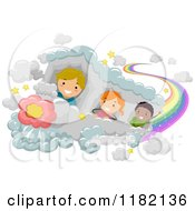 Happy Diverse School Children Riding A Cloud Train With A Rainbow Trail