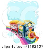 Cartoon Of Happy Diverse School Children Riding A Train On A Rainbow With A Steam Cloud Royalty Free Vector Clipart