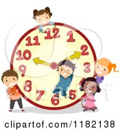 Cartoon Of Happy Diverse School Children With A Giant Clock Royalty Free Vector Clipart