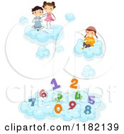 Cartoon Of Happy Diverse School Children In Clouds Fishing For Numbers Royalty Free Vector Clipart