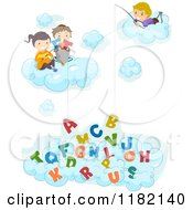 Cartoon Of Happy Diverse School Children In Clouds Fishing For Alphabet Letters Royalty Free Vector Clipart