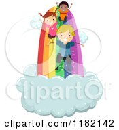 Cartoon Of Happy Diverse Children On A Rainbow Slide Royalty Free Vector Clipart by BNP Design Studio