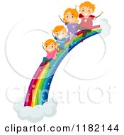 Cartoon Of A Happy Red Haired Family Sliding Down A Rainbow Royalty Free Vector Clipart by BNP Design Studio