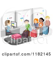 Cartoon Of Happy People In The Luggage Check Airport Line Royalty Free Vector Clipart by BNP Design Studio