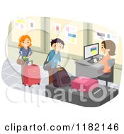 Cartoon Of Happy People Checking Luggage At An Airport Royalty Free Vector Clipart