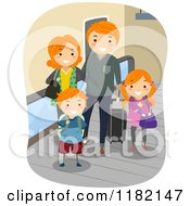 Cartoon Of A Happy Red Haired Family With Luggage On An Airport Walkalator Royalty Free Vector Clipart