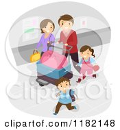 Cartoon Of A Happy Family With Luggage In An Airport Royalty Free Vector Clipart