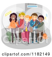 Cartoon Of A Diverse Group Of Happy Travelers With Luggage Royalty Free Vector Clipart