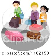 Cartoon Of A Diverse Group Of Travelers At The Baggage Claim Carousel Royalty Free Vector Clipart