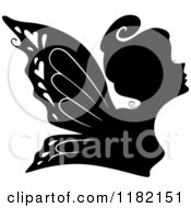 Cartoon Of A Black Silhouetted Fairy Woman Royalty Free Vector Clipart