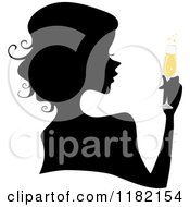 Cartoon Of A Black Silhouetted Woman With Yellow Champagne Royalty Free Vector Clipart