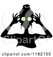 Cartoon Of A Black Silhouetted Woman With Green Cucumbers Over Her Eyes Royalty Free Vector Clipart