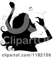 Cartoon Of A Black Silhouetted Woman Dancing With Colorful Music Notes Royalty Free Vector Clipart