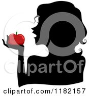 Cartoon Of A Black Silhouetted Woman Holding A Red Apple Royalty Free Vector Clipart