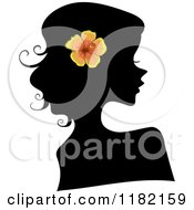 Cartoon Of A Black Silhouetted Woman With An Orange Hibiscus Flower In Her Hair Royalty Free Vector Clipart