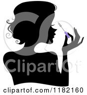 Cartoon Of A Black Silhouetted Woman Applying Mascara From A Purple Brush Royalty Free Vector Clipart by BNP Design Studio