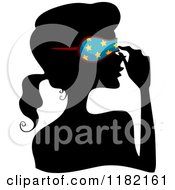 Cartoon Of A Black Silhouetted Woman Adjusting A Blue Starry Sleep Mask Royalty Free Vector Clipart