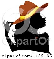 Cartoon Of A Black Silhouetted Woman With A Brown Cowgirl Hat Royalty Free Vector Clipart by BNP Design Studio