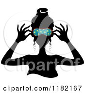 Cartoon Of A Black Silhouetted Woman Putting On A Blue Starry Sleep Mask Royalty Free Vector Clipart