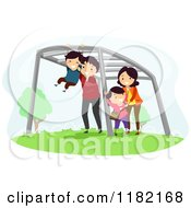 Cartoon Of A Happy Family Playing On Monkey Bars Royalty Free Vector Clipart