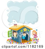 Cartoon Of Happy Children At A Play House With Smoke Copyspace Royalty Free Vector Clipart