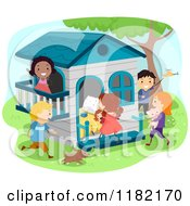 Cartoon Of Happy Diverse Children At A Play House Royalty Free Vector Clipart