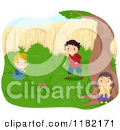 Cartoon Of Happy Children Playing Hide And Seek Royalty Free Vector Clipart