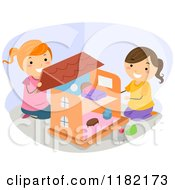 Cartoon Of Happy Girls Playing With A Doll House Royalty Free Vector Clipart by BNP Design Studio