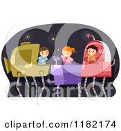 Cartoon Of Happy Children Operating Robots Royalty Free Vector Clipart