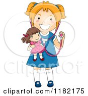 Cartoon Of A Happy Girl Wearing A Stethoscope And Holding A Doll Royalty Free Vector Clipart