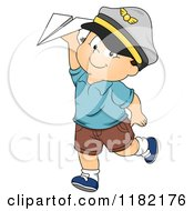 Cartoon Of A Happy Toddler Boy Wearing A Pirate Hat And Playing With A Paper Plane Royalty Free Vector Clipart by BNP Design Studio