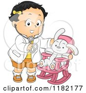 Cartoon Of A Happy Toddler Girl Pretending To Be A Doctor For Her Stuffed Bunny Royalty Free Vector Clipart