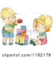 Cartoon Of Toddler Children Pretending To Be Engineers And Playing With Blocks Royalty Free Vector Clipart by BNP Design Studio