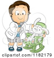 Cartoon Of A Happy Brunette Toddler Boy Pretending To Be Doctor For His Stuffed Bunny Royalty Free Vector Clipart