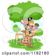 Cartoon Of Boys Pretending To Be Pirates In A Tree House Royalty Free Vector Clipart by BNP Design Studio