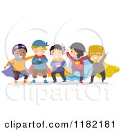 Cartoon Of Boys Playing In Super Hero Costumes Royalty Free Vector Clipart