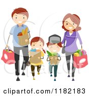 Cartoon Of A Happy Caucasian Family Carrying Grocery Bags Royalty Free Vector Clipart