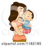 Cartoon Of A Brunette Mom Kissing Her Toddler Boy On The Cheek Royalty Free Vector Clipart