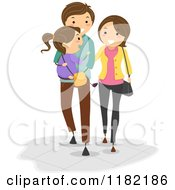 Cartoon Of A Happy Father Carrying His Daughter And Walking With His Wife Royalty Free Vector Clipart