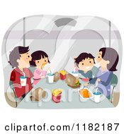 Cartoon Of A Happy Asian Family Eating Fast Food Royalty Free Vector Clipart
