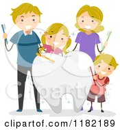 Happy Blond Caucasian Family With Brushes And A Big Tooth
