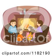 Cartoon Of A Happy Family Gathered Around A Fireplace Royalty Free Vector Clipart