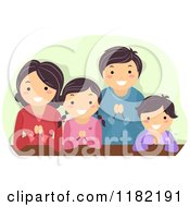 Cartoon Of A Happy Religious Asian Family Praying Royalty Free Vector Clipart