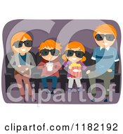 Cartoon Of A Red Haired Family Watching A 3d Movie Royalty Free Vector Clipart by BNP Design Studio