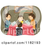 Cartoon Of A Happy Family With Menus At A Restaurant Royalty Free Vector Clipart by BNP Design Studio