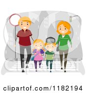 Red Haired Family Crossing A Street