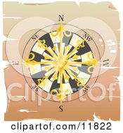 Golden Sailors Compass Rose Clipart Illustration by AtStockIllustration