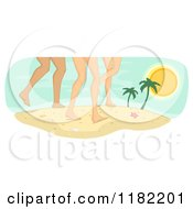 Cartoon Of Legs Of Diverse Women On A Beach Royalty Free Vector Clipart